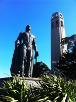 On The Run: Christopher Columbus lookin' grand in front of Coit Tower