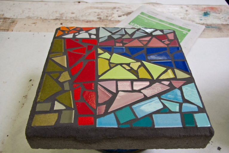 My version of a traditional Korean wrapping cloth, only made in stone. It now sits in my minigarden, the lone product of my mosaic ambitions.