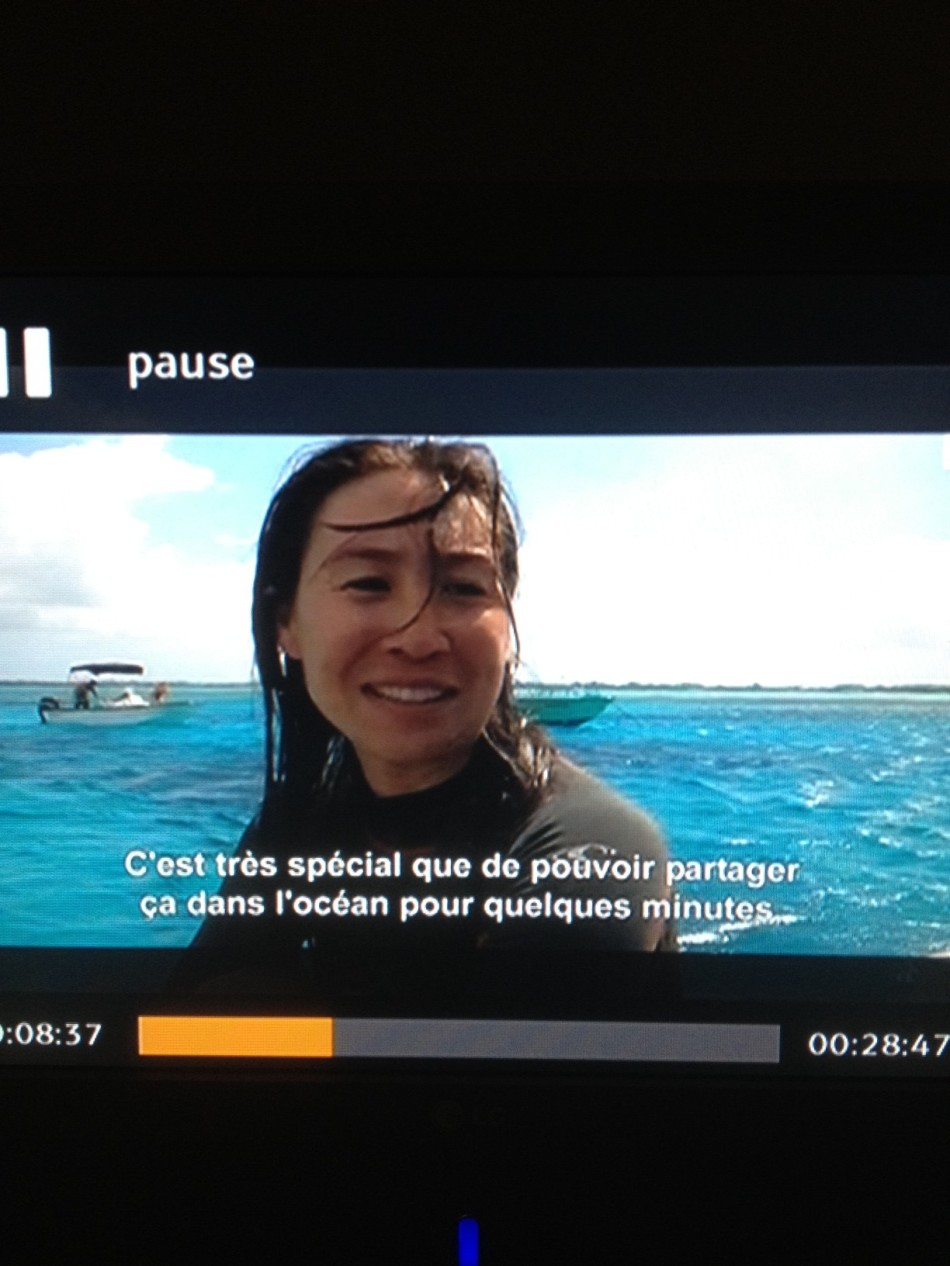 "A screen shot of me after the dive, from ""Les reines du lagon."""