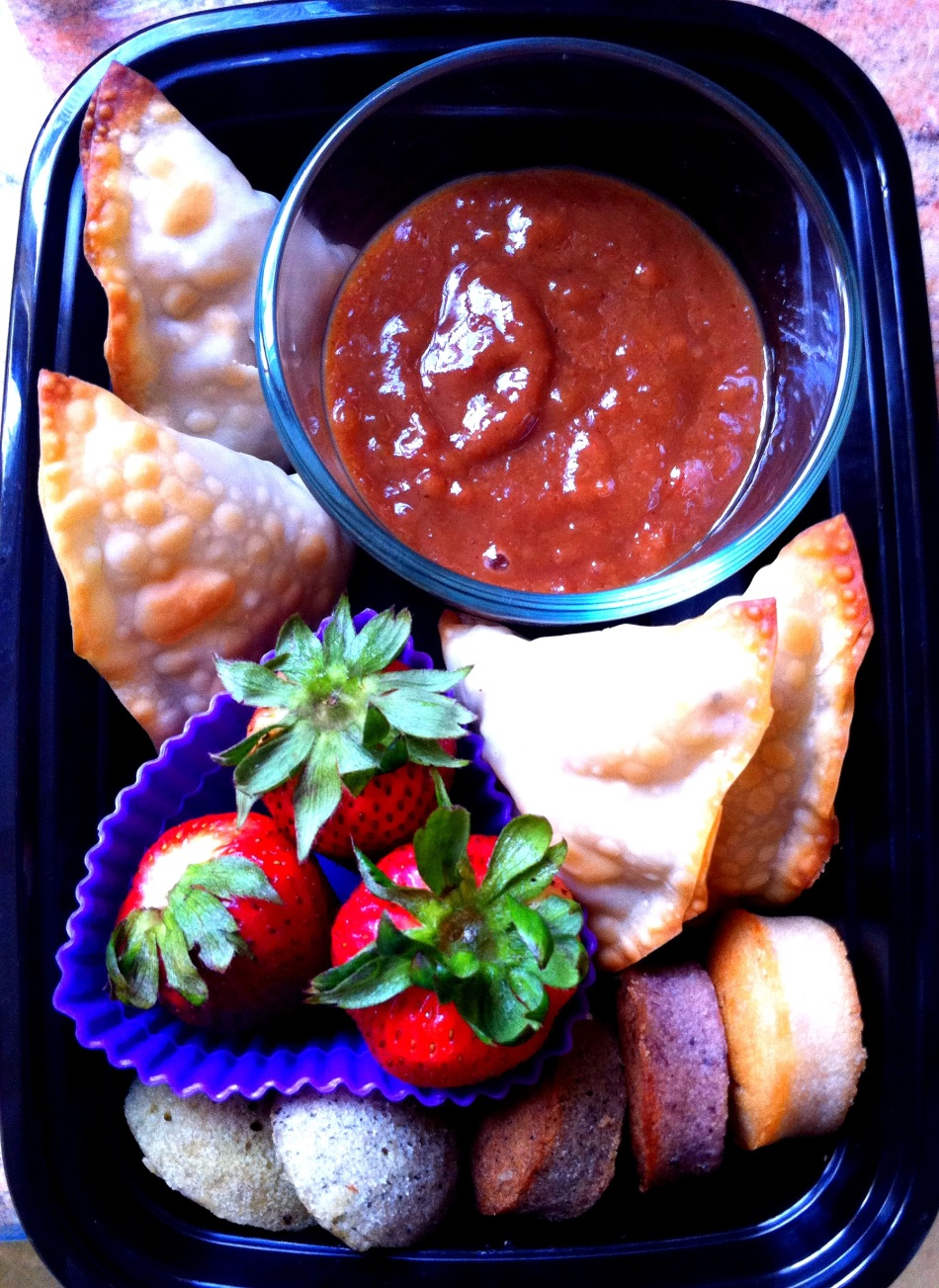 Potato and pea baked samosas with tamarind-date chutney, fresh strawberries and Asian-flavored financiers and madeleines by SweetMue.com.
